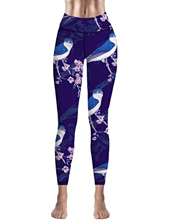 f1029b5665540f Amazon.com: Womens Leggings High Waist Yoga Pants Tummy Control Workout  Running Athletic Workout Leggings Birds on Plum Tree: Clothing