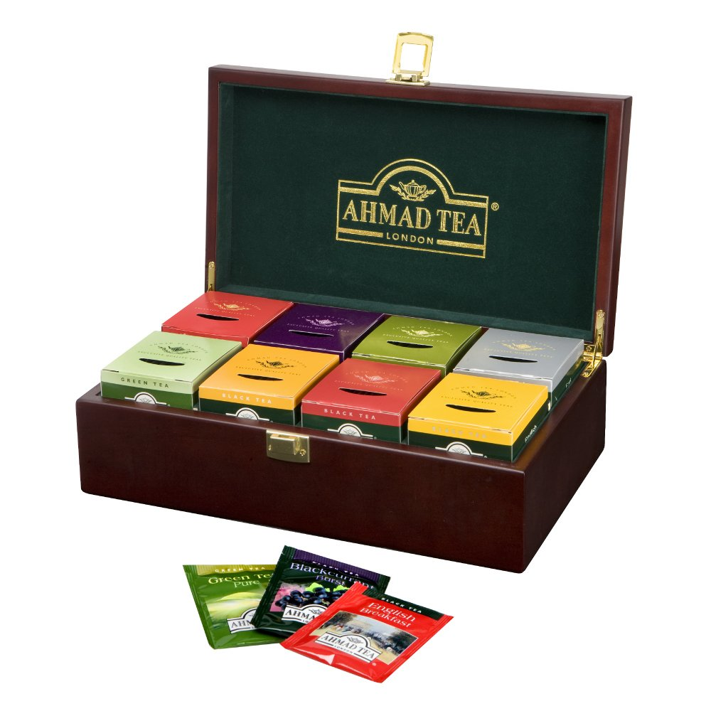 Ahmad Tea Wooden Box Tea Keeper with 8 Black, Fruit-Flavoured & Green Teas - 80 Teabags