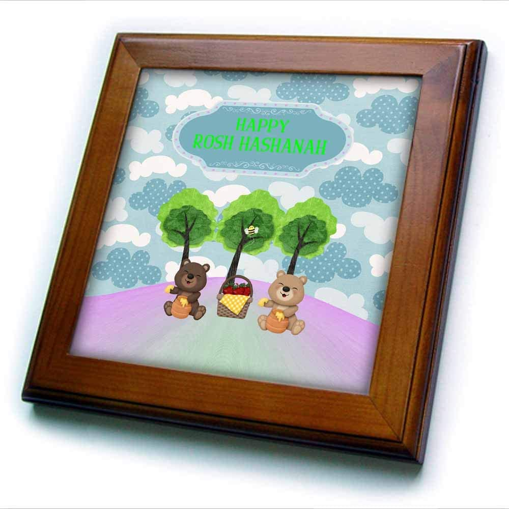 3dRose Image of Rosh Hashanah, Bears on Picnic with Honey and Apples - Framed Tiles (ft_329120_1)