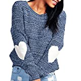 Amacok Fashion Women Solid Knitted Hearted Sleeve O Neck Loose Outwear Knitwear Overcoat Sweater Cardigan (Blue, XL)