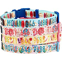 Blueberry Pet 8 Patterns Personalized Dog Collar, The Ultimate Macaroon Cake, Large, Adjustable Customized ID Collars for Large Dogs Embroidered with Pet Name & Phone Number