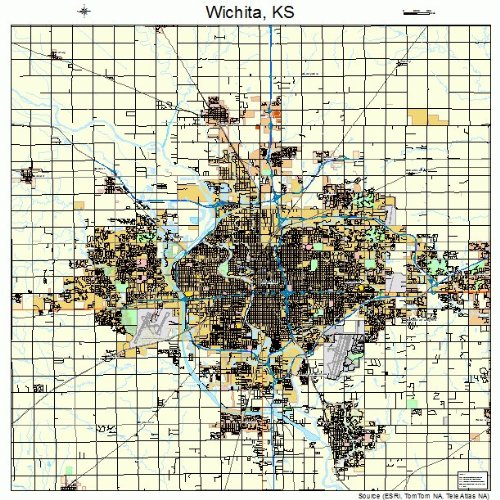 Large Street & Road Map of Wichita, Kansas KS - Printed poster size wall atlas of your home town (Kansas Ks Printed Poster)