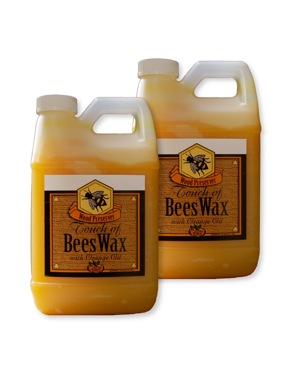 Beeswax, Wood Preserver, Dry Wood, Wax for Wood, Wood Polish, 64oz 1/2 Gallon Set of 2 by Touch Of Oranges