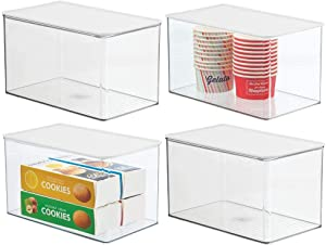 mDesign Plastic Stackable Kitchen Pantry Cabinet or Refrigerator Food Storage Container Box, Attached Hinged Lid - Organizer for Snacks, Produce, Pasta, 4 Pack - Clear/White