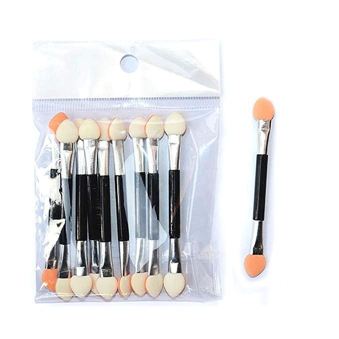 F-blue Portable Eyeshadow Applicator Sponge Double Ended Make up Supplies Eye Shadow Brushes Nail Mirror Powder Brush 10pcs