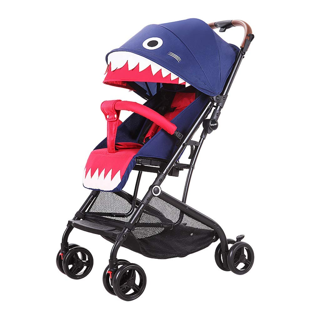 Baby Stroller,Lightweight Compact Travel Stroller - One Hand Fold,Umbrella Stroller,Linen Fabric, Baby Can Sit Or Lie Down, Pull Handle, Can Take It On The Airplane-Shark