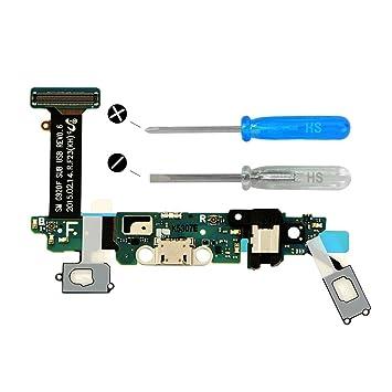 MMOBIEL Conector Dock Cargador Compatible con Samsung Galaxy S6 G920F de Repuesto. Puerto Micro USB Cable Flex con Adhesivo. Incluye Dos ...