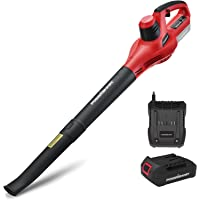 PowerSmart PS76101A Leaf Blower, 20V MAX Lithium-Ion Battery Powered Cordless Leaf Blower with 117 MPH Output, Color Red…