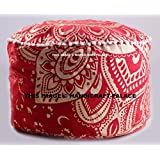 Indian Ombre Mandala Ottoman Cover,Traditional Indian Decorative Pouf Ottoman,Indian Comfortable Floor Pillow Cotton Cushion Cover Pouf,Indian Designs Ethnic Tapestry Pouf 14x24'' By Handicraft-Palace