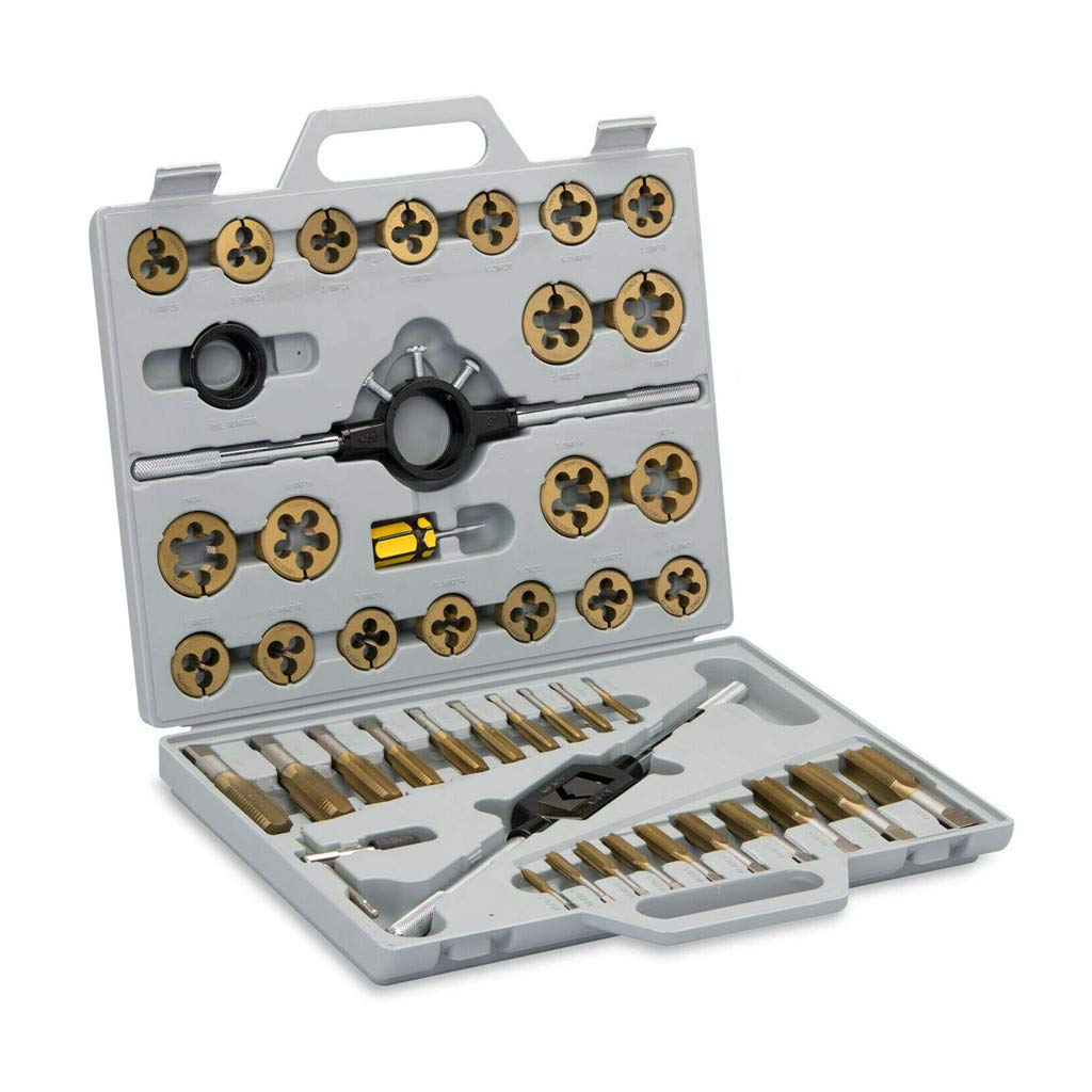 Redgiants Large Tap and Die Set, Metric Tools Titanium Standard Tap and Die Threading Tool Set,Titanium Coated with Metal Carrying Case by Redgiants