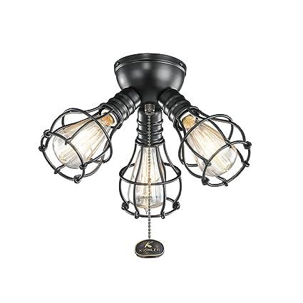 Elegant Kichler 370041SBK Industrial Ceiling Fan Light Kit In Satin Black, 3 Light