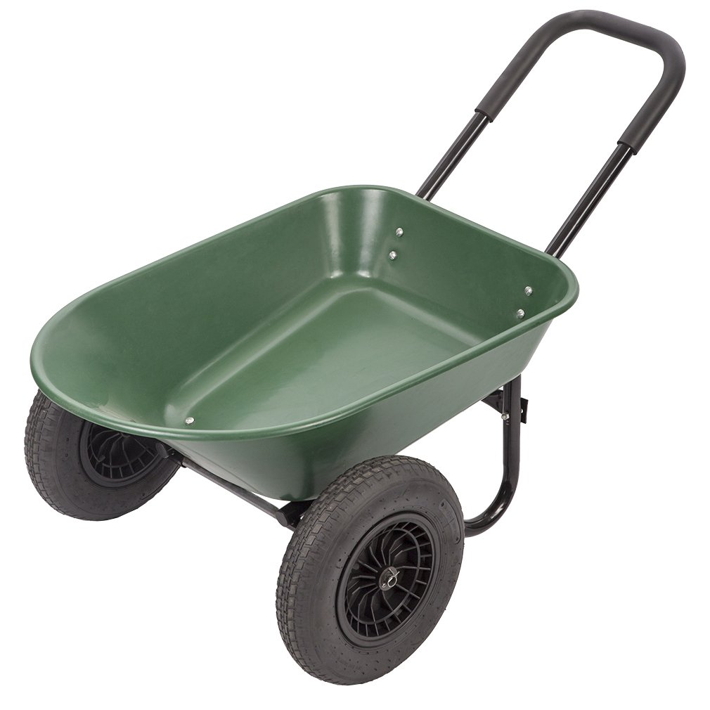 BestMassage Flat Free Yard Garden Rover Wheelbarrow,2 Tire Wheelbarrow Garden Cart