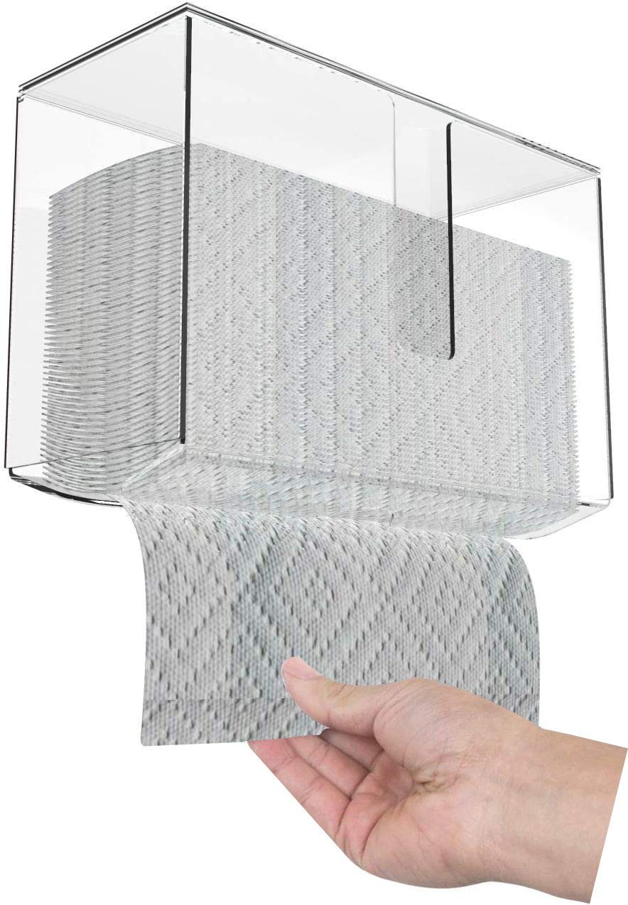 Cq acrylic Wall Mount Paper Towel Dispenser with Lid,Clear Folded Paper Towel Holder for Bathroom Toilet and Kitchen,Suitable for Z-fold, C-fold or Multi-Fold Paper Towels,Pack of 1