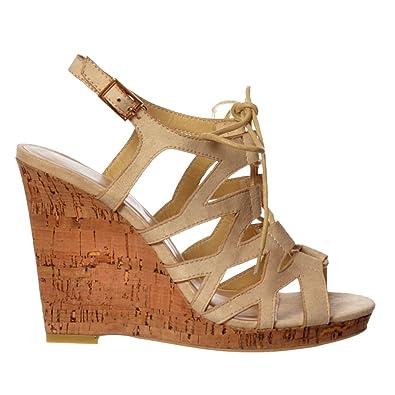 8a0c63ba007 Onlineshoe Women's Open Toe Gladiator Lace UP Cork Wedge Heel Sandal -  Nude, Black, Sand