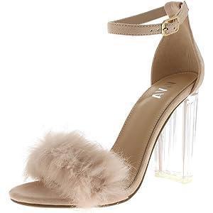 43978e75795 Viva Womens Fluffy Glass Block Heel Party Cut Out Fashion High Heels Pumps