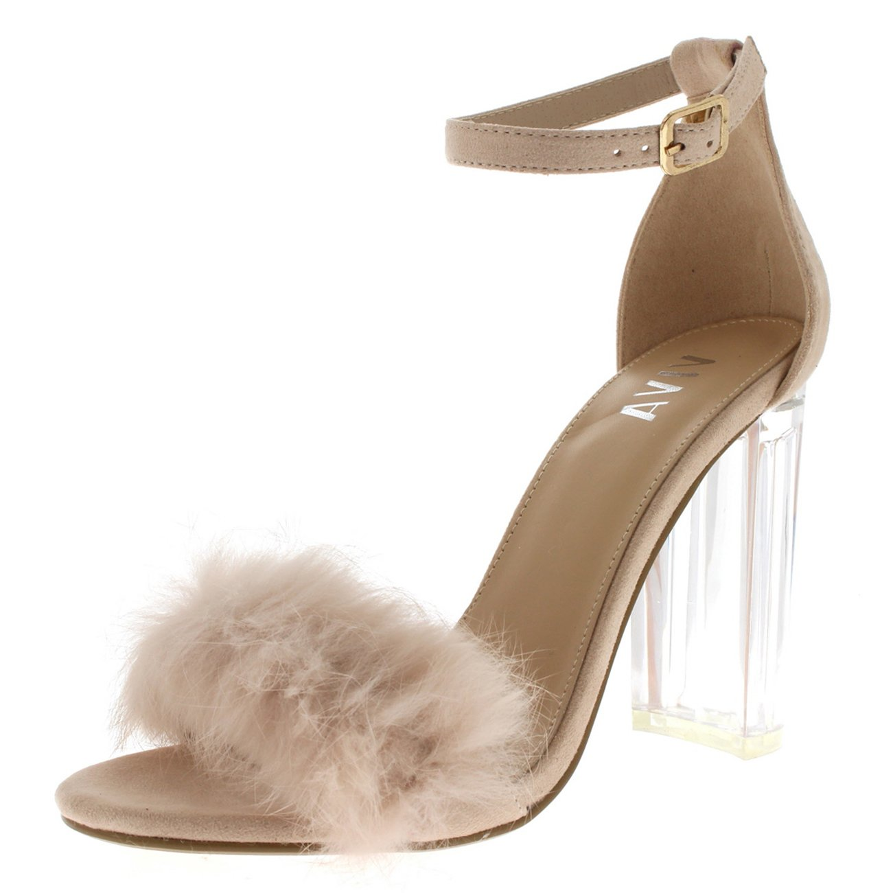 Viva Womens Fluffy Glass Block Heel Party Cut Out Fashion High Heels Pumps - Nude KL0280G 8US/39