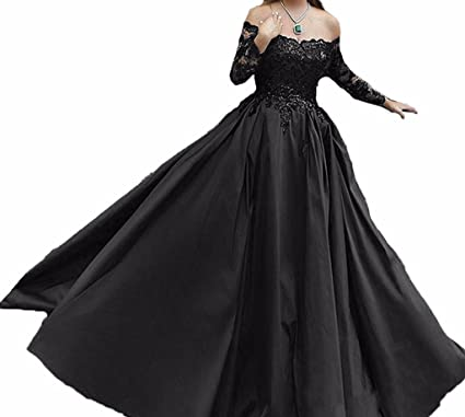 Off The Shoulder Prom Dresses Lace Ball Gown Evening Party Dress with Sleeves