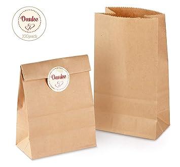 100 Kraft marrón bolsas de papel con base 9 x 16 x 5 cm 70 gr