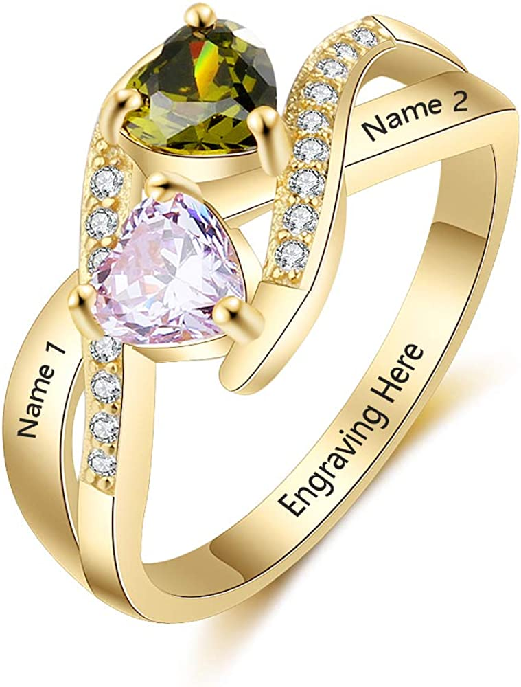 Wendy Made Personalized Mother Rings with 2 Simulated Birthstone Custom Names Promise Ring for Her Personalized Family Ring for Mothers Day 61dg2GCOInL