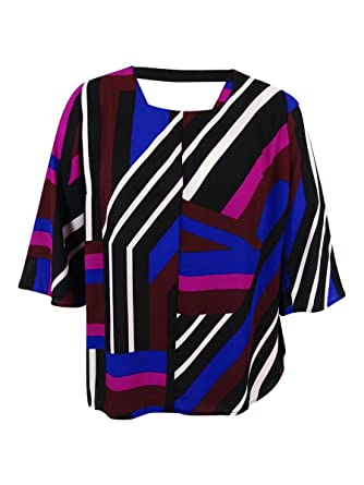 d6ef12d2962 NY Collection Plus Size Wild-Striped Multi-C Wine Top Taffy 1X at ...