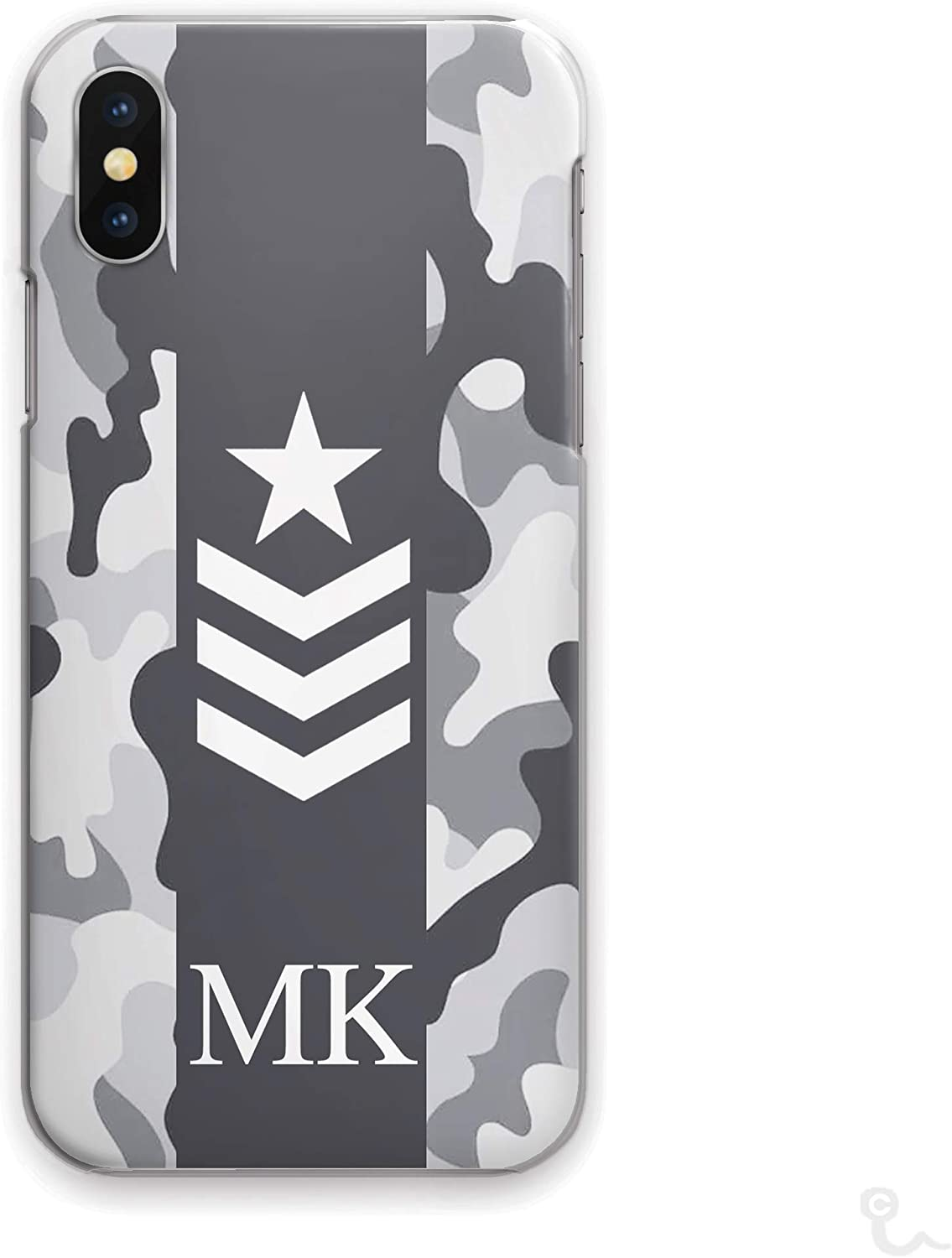 Camo Phone Cover Mixed Green Army Camouflage Print with Custom Name//Black Capital Text Personalised Initials Hard Phone Case For Apple iPhone 8 Plus