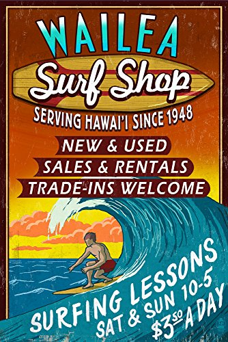 Wailea, Hawaii - Surf Shop Vintage Sign (24x36 SIGNED Print Master Giclee Print w/ Certificate of Authenticity - Wall Decor Travel - The Shops Of Wailea