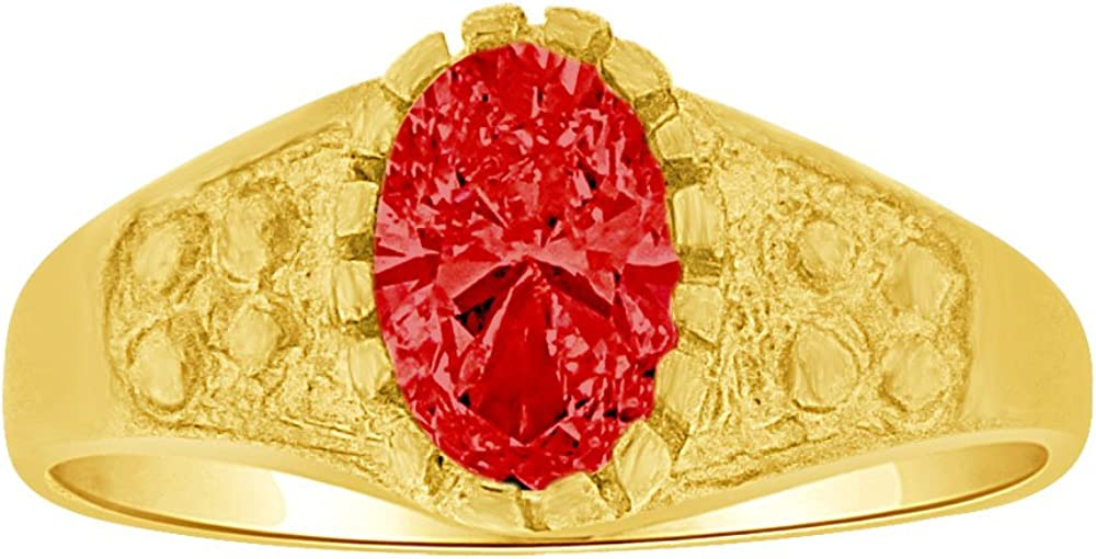 Mini Size Child Ring Created Red CZ Classic Design 14k Yellow Gold