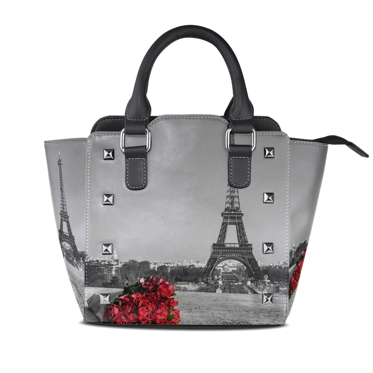 Design 1 Handbag Red pink With Romantic Eiffel Tower Genuine Leather Tote Rivet Bag Shoulder Strap Top Handle Women