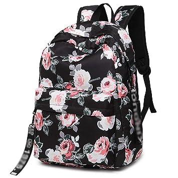 c11c6fd59 XHHWZB Mochila Impermeable portátil para el Viaje Mochila de Viaje Escolar  Mochilas Escolares para niñas y Mujeres Adolescentes - Black Peony: Amazon.es:  ...