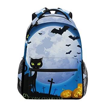 Mochila Escolar Emoya para Halloween, Gato Negro, Calabaza, Luna ...