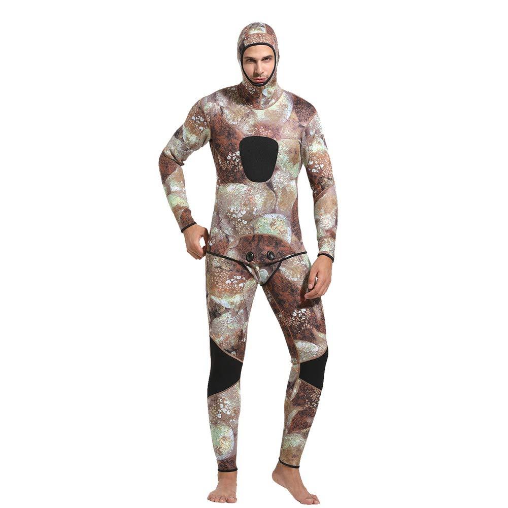 メンズフード付きダイビングスーツ、3ミリメートルダイビングスーツシャム迷彩水着厚い暖かいシュノーケリングサーフィンウォータースポーツ,XL  X-Large