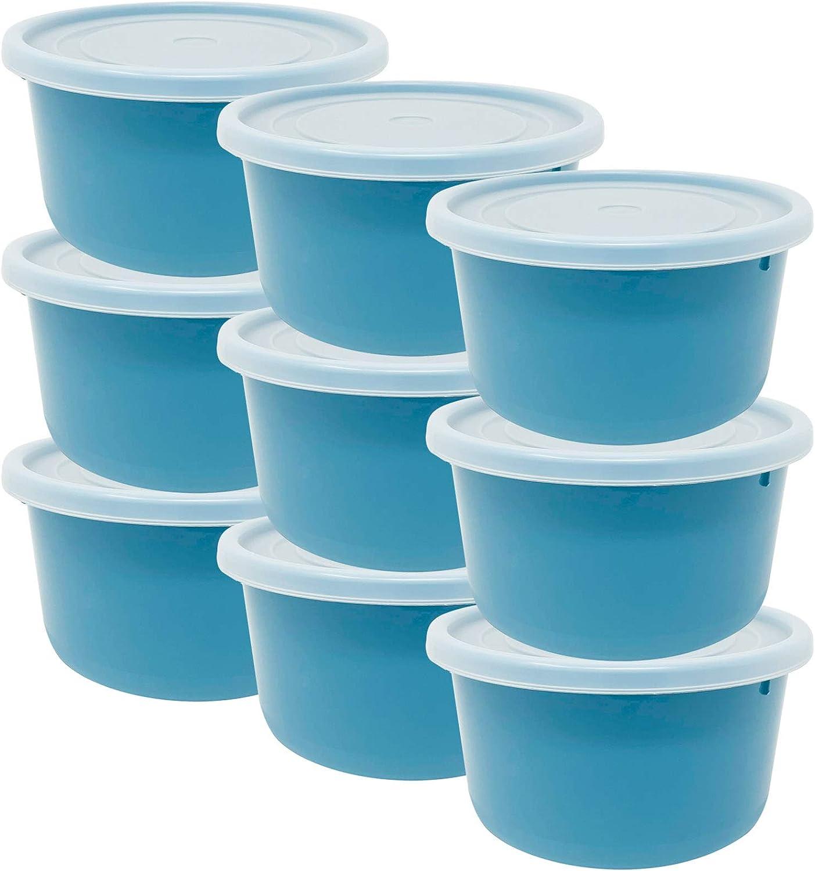 Codil 9×Recipientes de Almacenamiento,Envases Cocina,Contenedores Reutilizables,Fiambreras de Plástico,Redondo Bajo con Tapas Flexibles,para Congelar Almacenar y Mantener Alimentos Frescos,Azul,0.3L