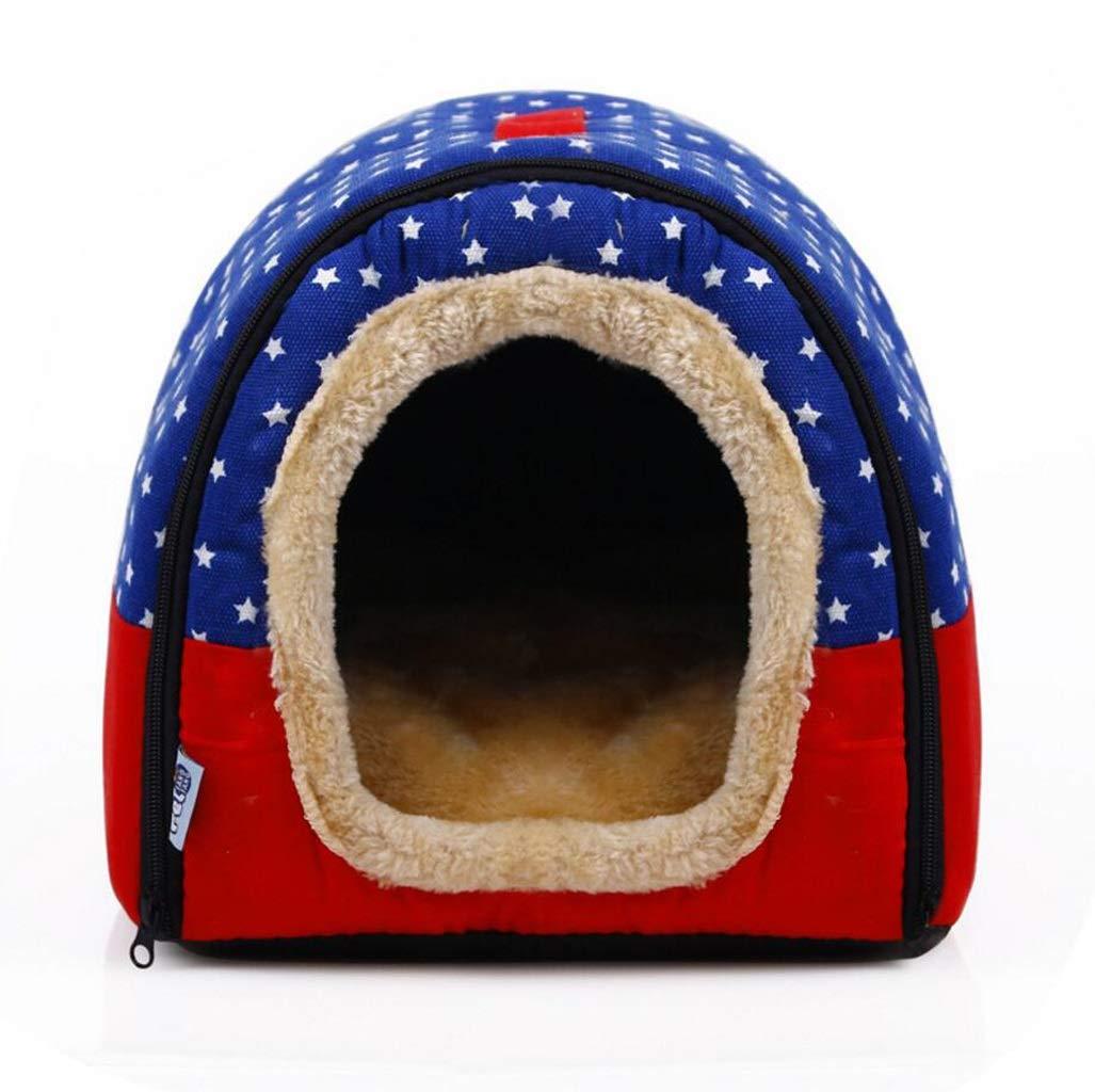 bluee L bluee L Pet Supplies Removable and Washable Pet House Dual-use Nest Pet Bed Cat Litter Pet Mat (color   bluee, Size   L)