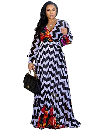 4095694a1d Dora's Womens Chiffon Deep V-Neck Printed Floral Maxi Dress Long Sleeves  Dresses Waisted Belt