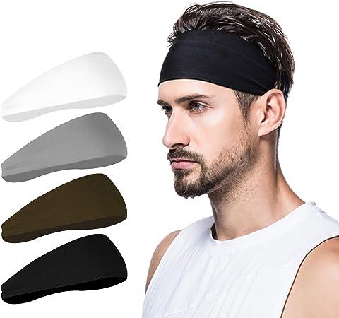 poshei Mens Headband (4 Pack), Mens Sweatband & Sports Headband