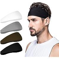 poshei Mens Headband (4 Pack), Mens Sweatband & Sports Headband for Running, Crossfit, Cycling, Yoga, Basketball…