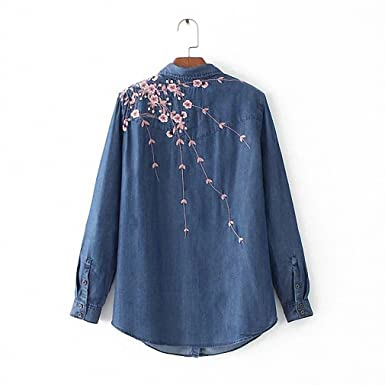 Long Sleeve Embroidery Floral Jeans Shirt Women NEW Denim Blouse Fashion Ladies Tops Blusas at Amazon Womens Clothing store: