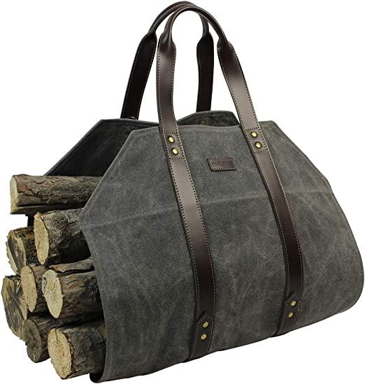 Amazon Com Log Carrier Waxed Canvas Log Holder Firewood Carrier Tote Bag Fireplace Wood Stove Accessories Grey Home Kitchen