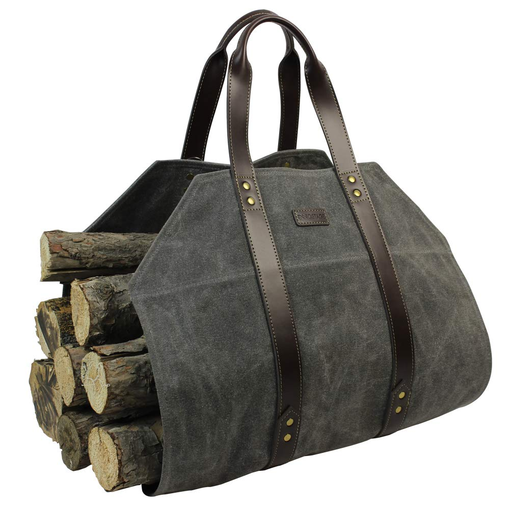 Log Carrier|Waxed Canvas Log Holder|Firewood Carrier Tote Bag|Fireplace Wood Stove Accessories-Grey by INNO STAGE