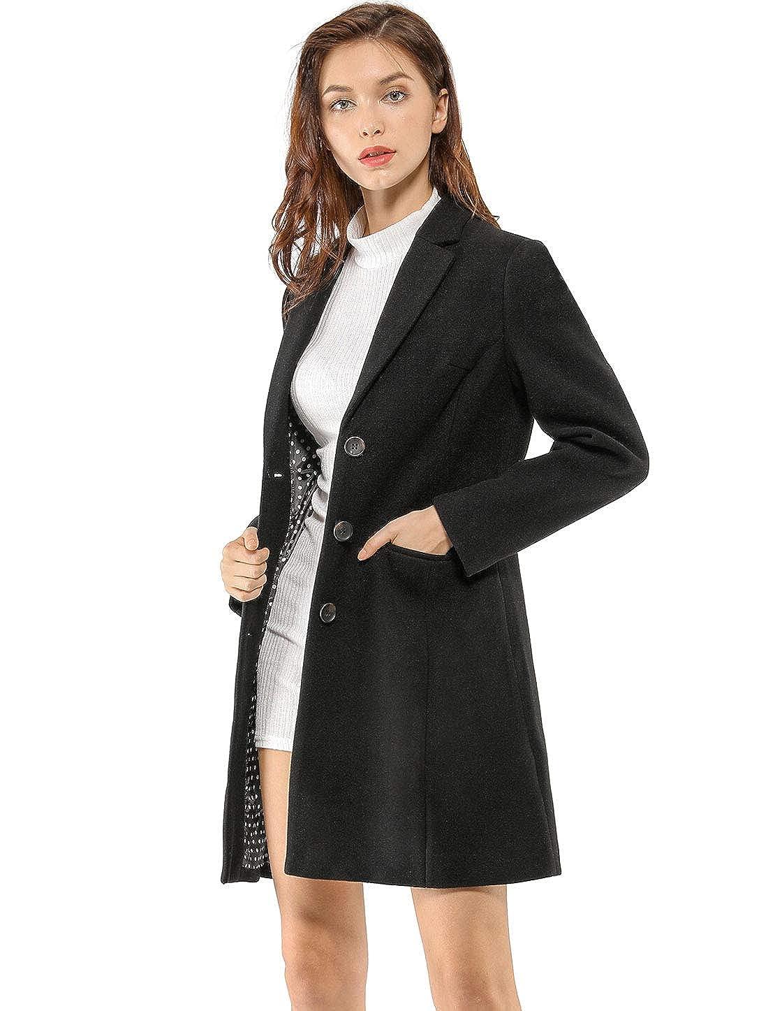 Allegra K Womens Notched Lapel Single Breasted Outwear Winter Coat