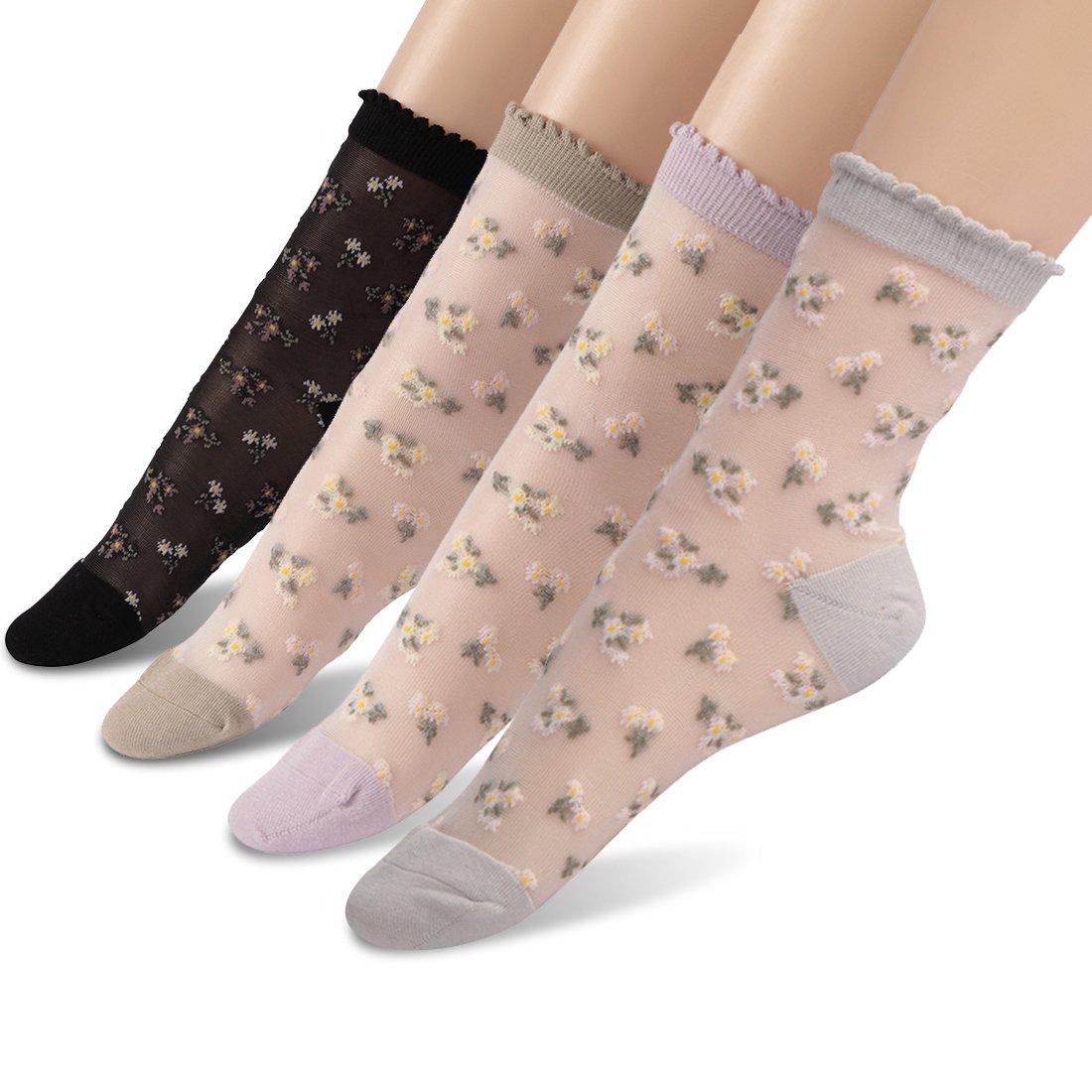 Transparent Ankle Socks, Socks Daze Women's Ultrathin Wedding Day Socks 4 Pairs