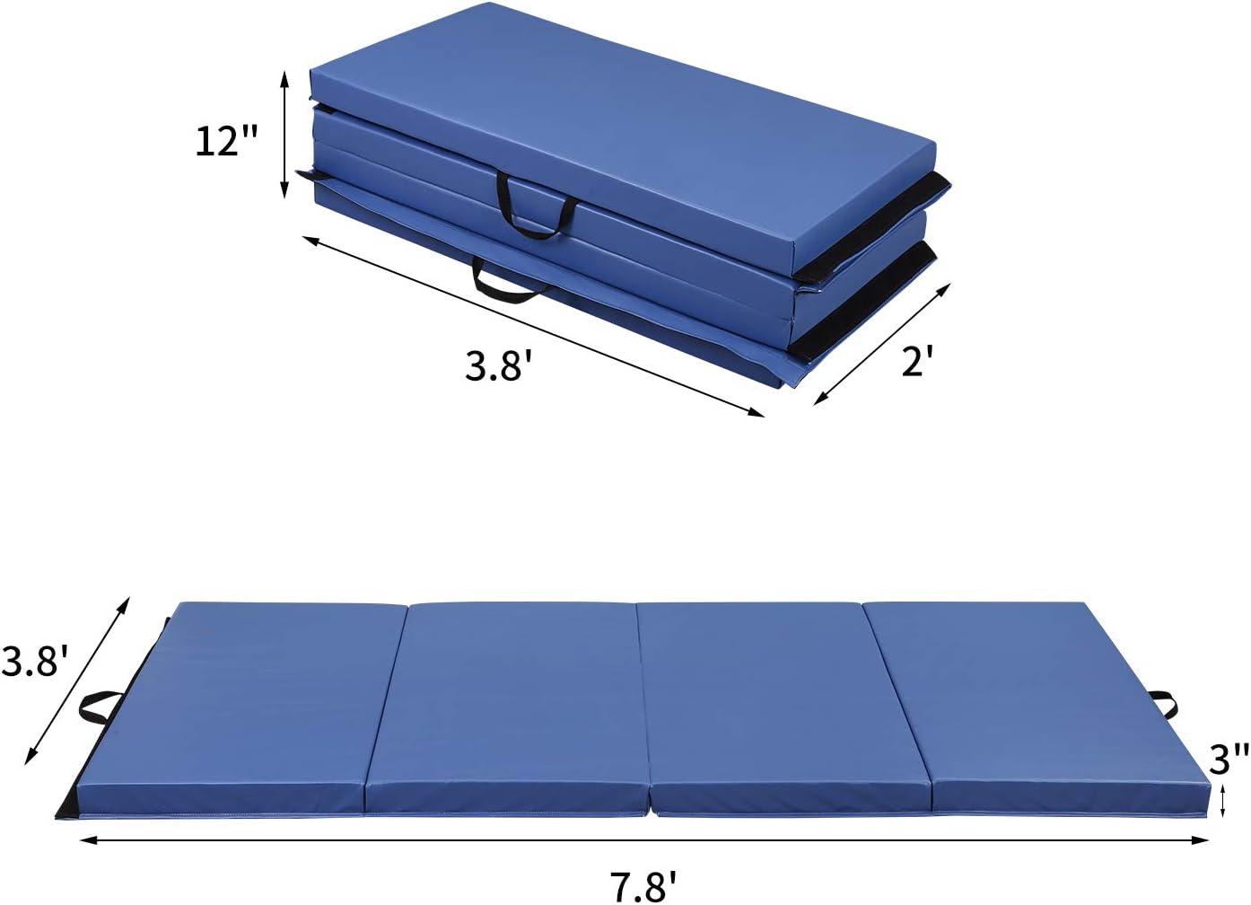 HI-MAT Gymnastics Mat 2 or 3 Thick 4 x 6//4 x 8 Tumbling Mats Folding Exercise Mat with Carrying Handles