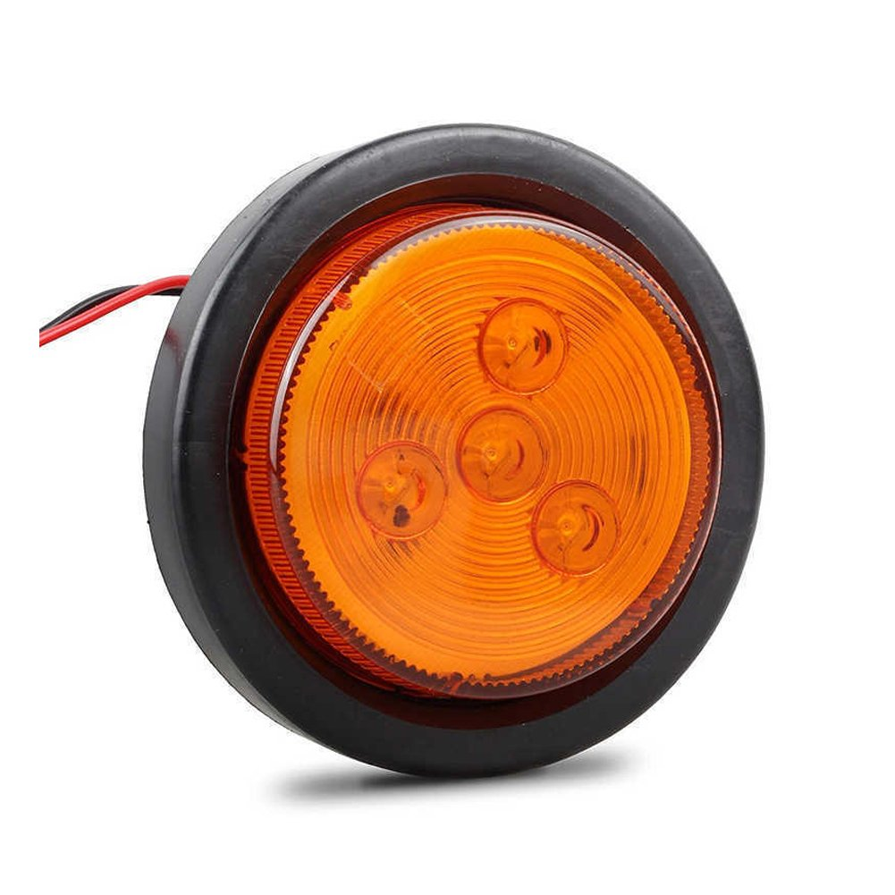 New Sun 25 Led Clearance Marker Lights For Trailer 4 Side Light With Reflector 2 Wire Diodes Round Flush Mount Amber Red Automotive