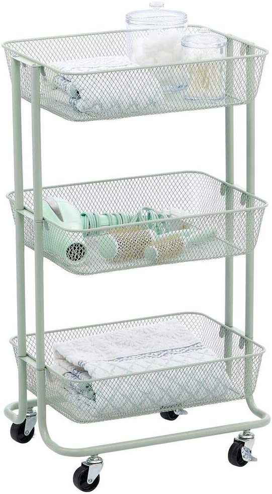 mDesign Metal 3-Tier Rolling Household Storage Cart to use in Bathrooms, Kitchen, Craft Rooms, Laundry Rooms, and Kid's Rooms - Portable, Includes 4 Caster Wheels - Mint Green