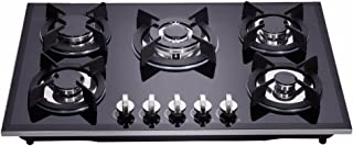 Deli-kit DK157-AA01 30 inch gas cooktop gas hob stovetop 5 Burners LPG/NG Dual Fuel 5 Sealed Burners Kitchen Tempered Glass Built-in gas hob 110V AC pulse ignition with cast iron support