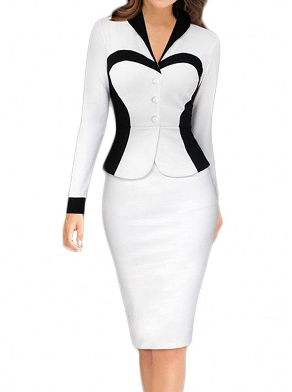 Babyonlinedress Long Sleeve OL Career Wear to Work Office Dress