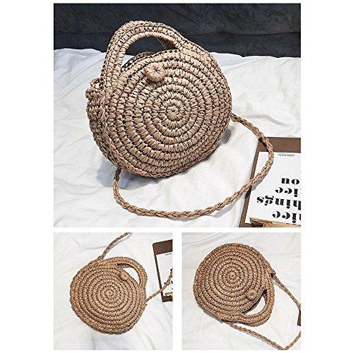 hombro 8 7 beige 2 bolsos Bolso tela bolso × mujer verano paja de pulgadas redondo de Marrón playa 2 Pawaca con cremallera de para de de Bolso qEPRWd1