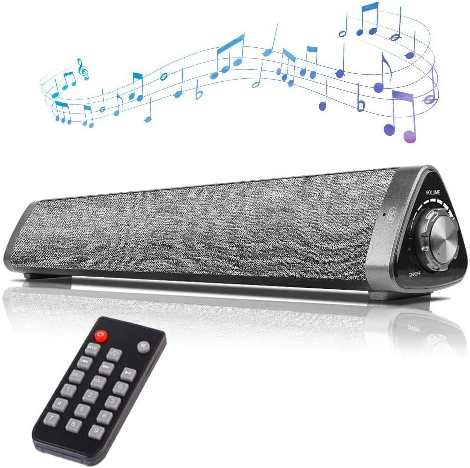 Mini Sound Bars for TV,Computer,COSOOS 16in Bluetooth Soundbar with Built-in Battery,Remote,Mic,10W PC Speakers for iMac,Phone,Monitor,Projector,Tablet,Desktop,Outdoor,Support Aux,RCA,USB-DAC,TF Card