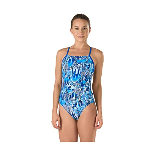 Speedo Womens Race Space Cross Back Swimsuit (28, Blue)