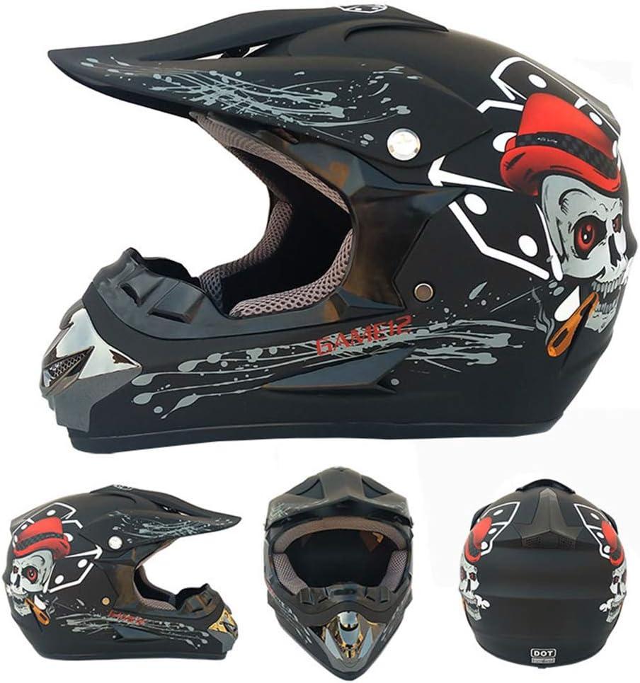 MTTK La Cara Llena de Descenso Casco con Gafas de m/áscara Guantes de Bolsillo de Red Bicicleta de monta/ña Casco de la Moto de Carreras Fuera de Carretera para Hombres y Mujeres